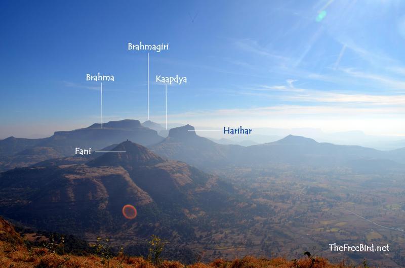 Basgad trek view of Harihar, Brahma, Kaapdya, Brahmagiri & Fani Hill